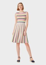 Rainbow Stripe Knitted Dress, Multi, hi-res