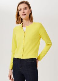 Michelle Cotton Cardigan, Lemon, hi-res