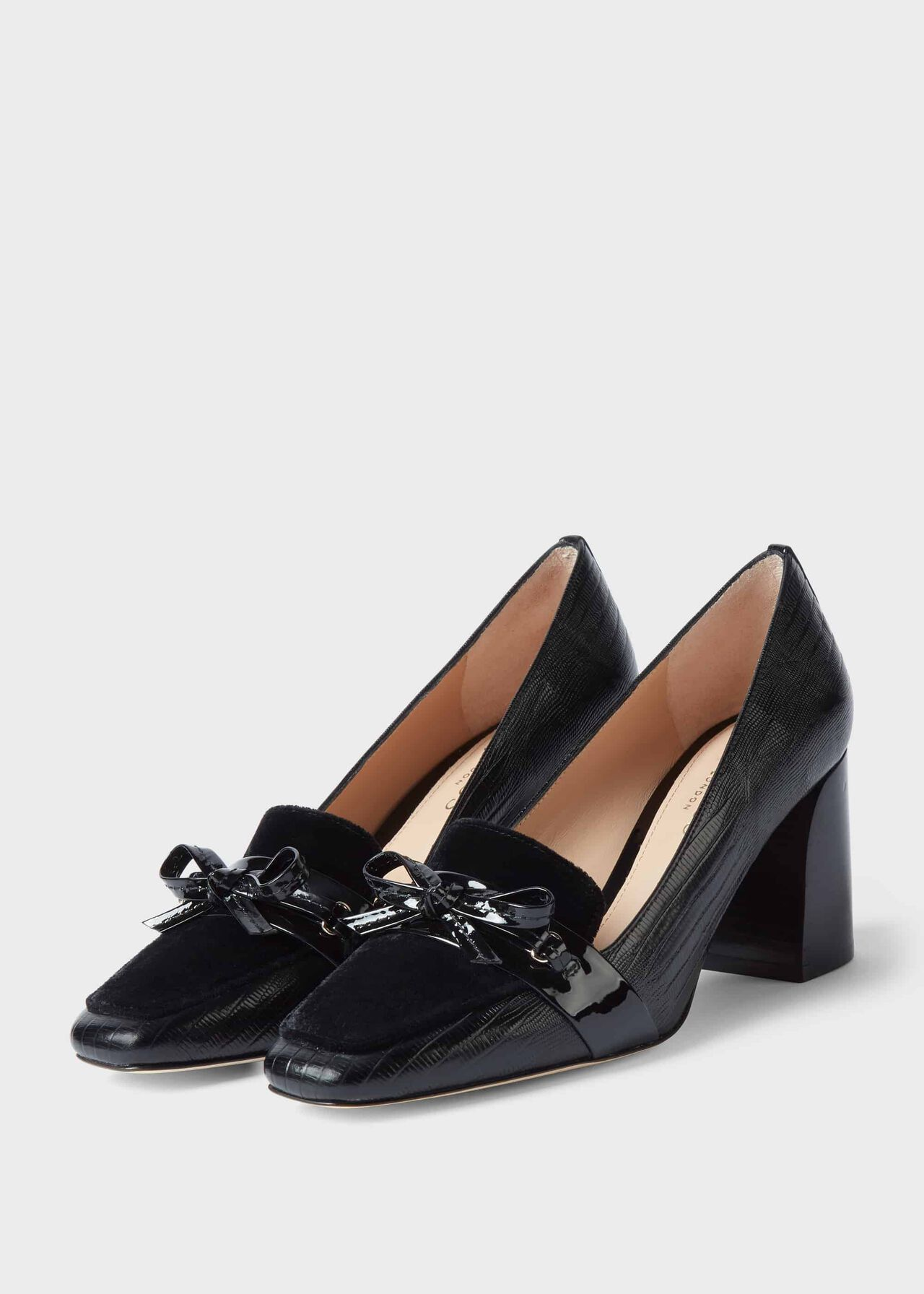 Katherine Leather Reptile Court Shoes Black