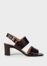 Katrina Crocodile  Block Heel Sandals, Chocolate, hi-res