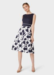 Una Cotton Blend Floral Dress, Midnight Ivory, hi-res