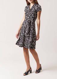 April Wrap Dress, Black Ivory, hi-res
