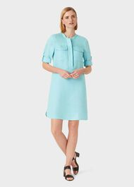 Linen Blend Milla Dress, Aqua, hi-res