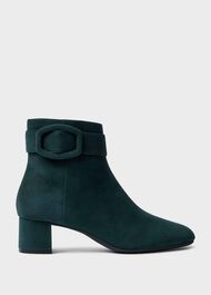 Hailey Suede Block Heel Ankle Boots, Bottle Green, hi-res