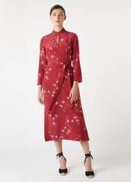 Margot Silk Dress, Burgundy Cerise, hi-res