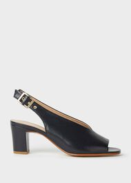 Kali Leather Block Heel Sandals, Navy, hi-res
