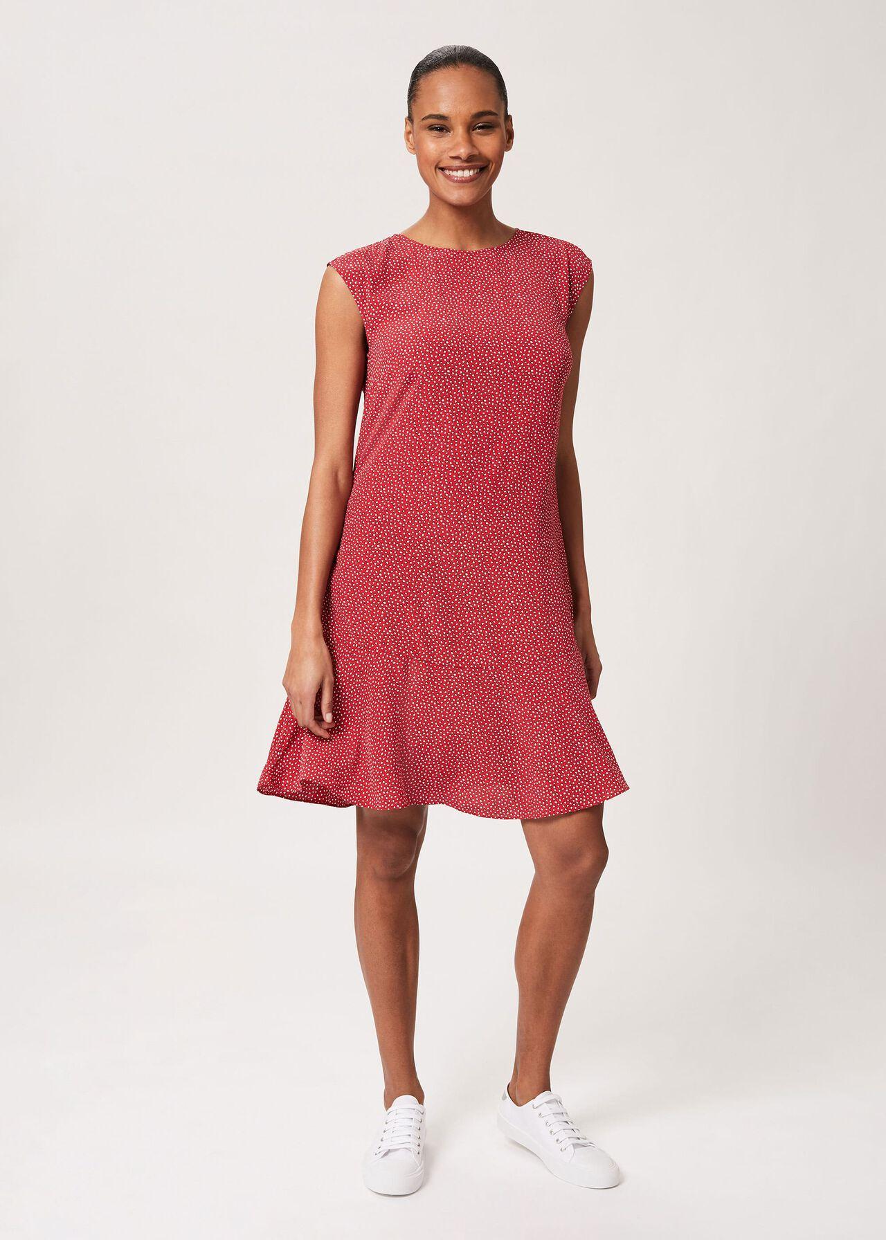 Catalina Spot Tunic Dress, Raspberry Ivory, hi-res