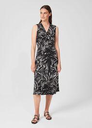 Darcie Jersey Floral Midi Dress, Black Ivory, hi-res