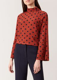 Phillipa Blouse, Rust Navy, hi-res