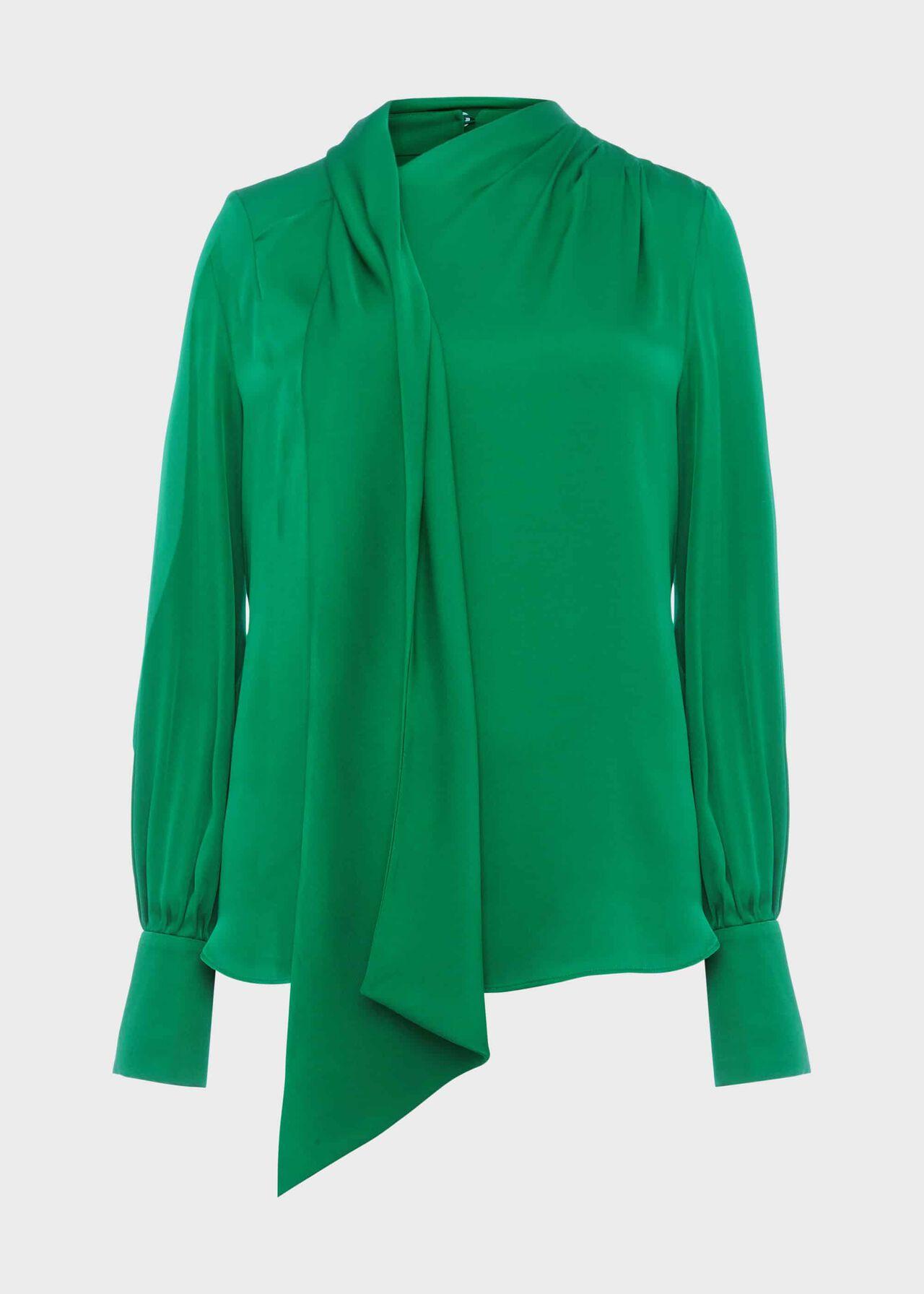 Elsa Blouse With Silk Emerald Green