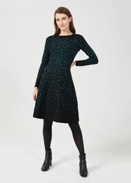 Jodie Knitted Dress, Black Green, hi-res