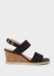 Verona Leather Wedge Sandals, Black, hi-res