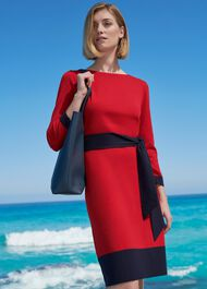 Ellen Knitted Dress, Red Navy, hi-res