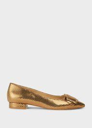 Alison Leather Flat Shoes, Metallic, hi-res