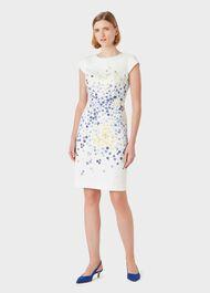 Fiona Cotton Blend Floral Shift Dress, Ivry Blue Ylw, hi-res