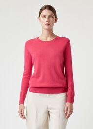 Freya Cashmere Sweater, Hot Pink, hi-res