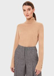 Lara Merino Wool Roll Neck Jumper, Camel, hi-res