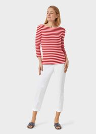 Striped Sonya Top, Red Ivory, hi-res