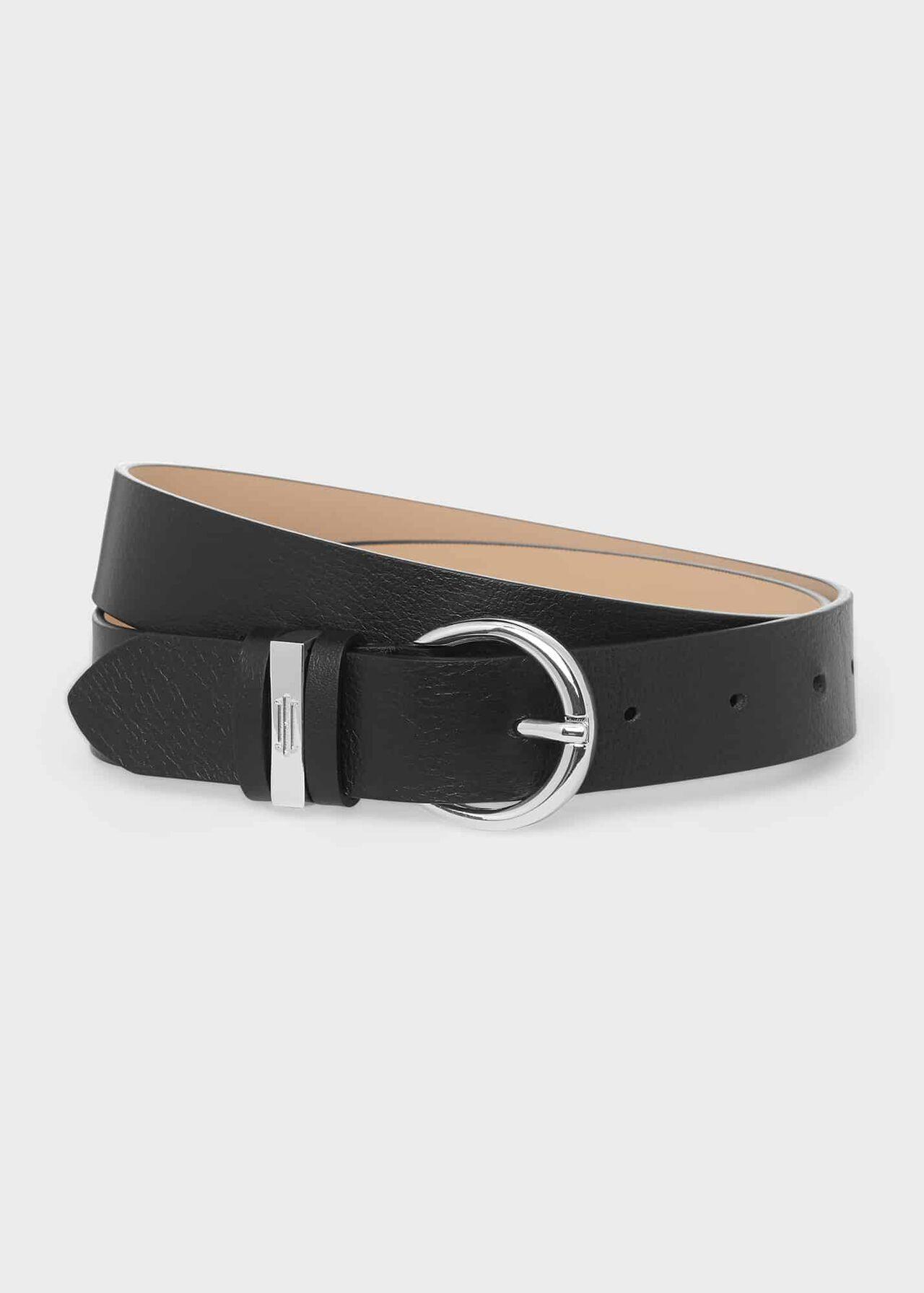 Eugenie Leather Belt , Black, hi-res