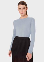 Maria Cashmere Crew Neck Sweater, Pale Blue Marl, hi-res
