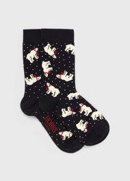 Polar Bear Sock, Navy Red, hi-res