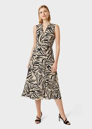 Shelly Printed Belted Dress, Stone Black, hi-res