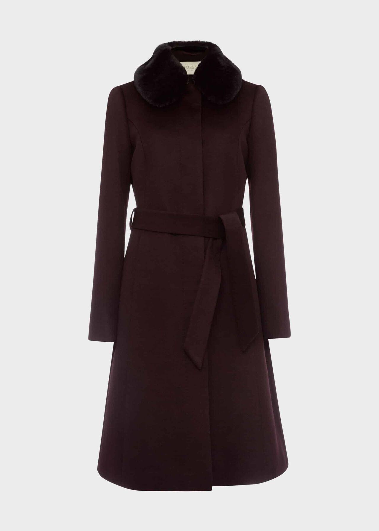 Edeline Wool Coat With Faux Fur Collar Wine