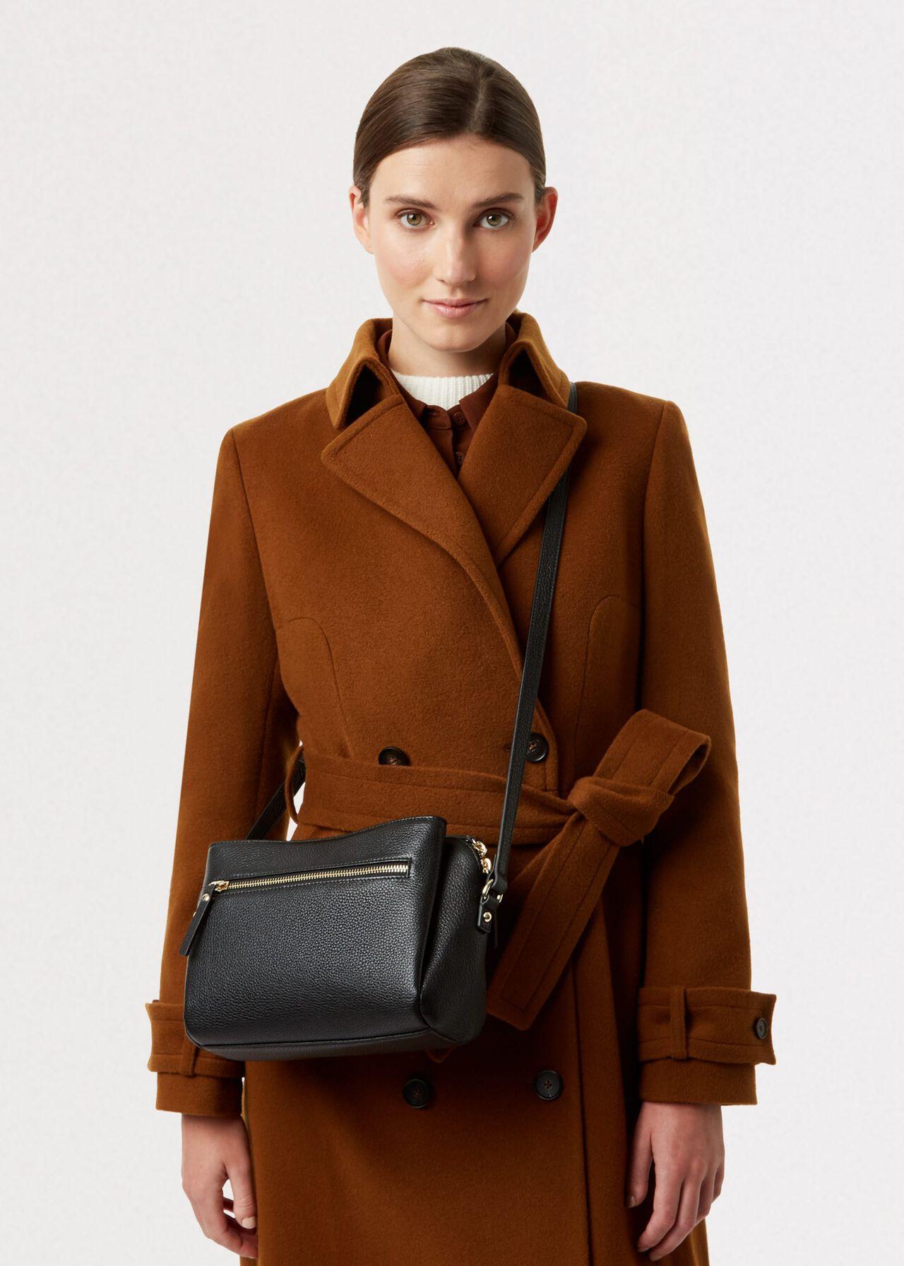 Hadley Leather Cross Body Bag , Black, hi-res