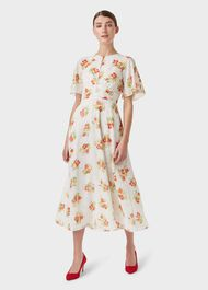 Savannah Floral Jacquard Dress, Ivory Multi, hi-res