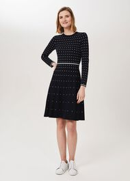 Sandy Knitted Dress, Navy Ivory, hi-res