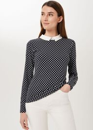 Danica Collared Top, Navy Ivory, hi-res