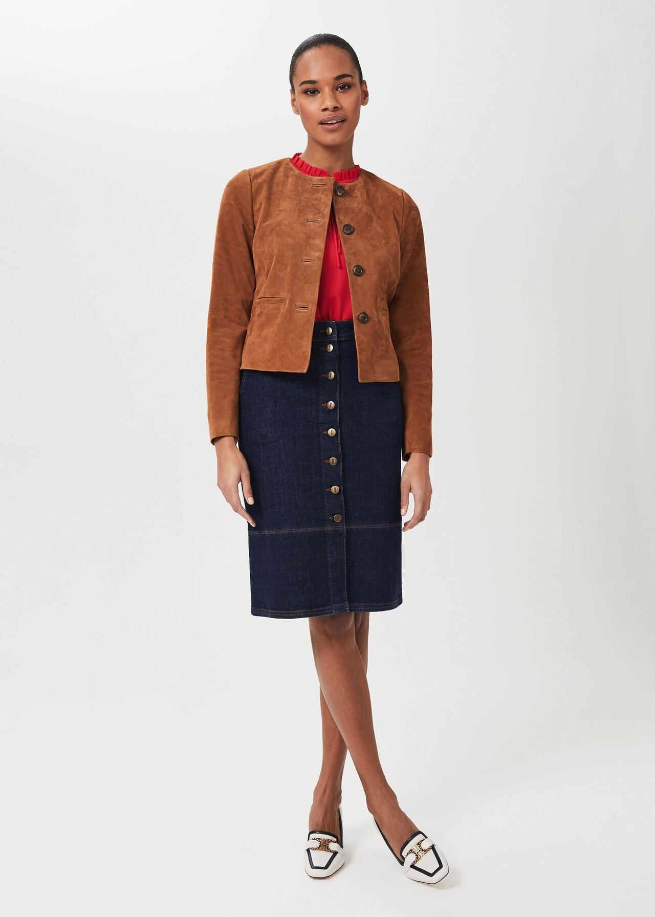 Mariette Suede Jacket, Toffee, hi-res
