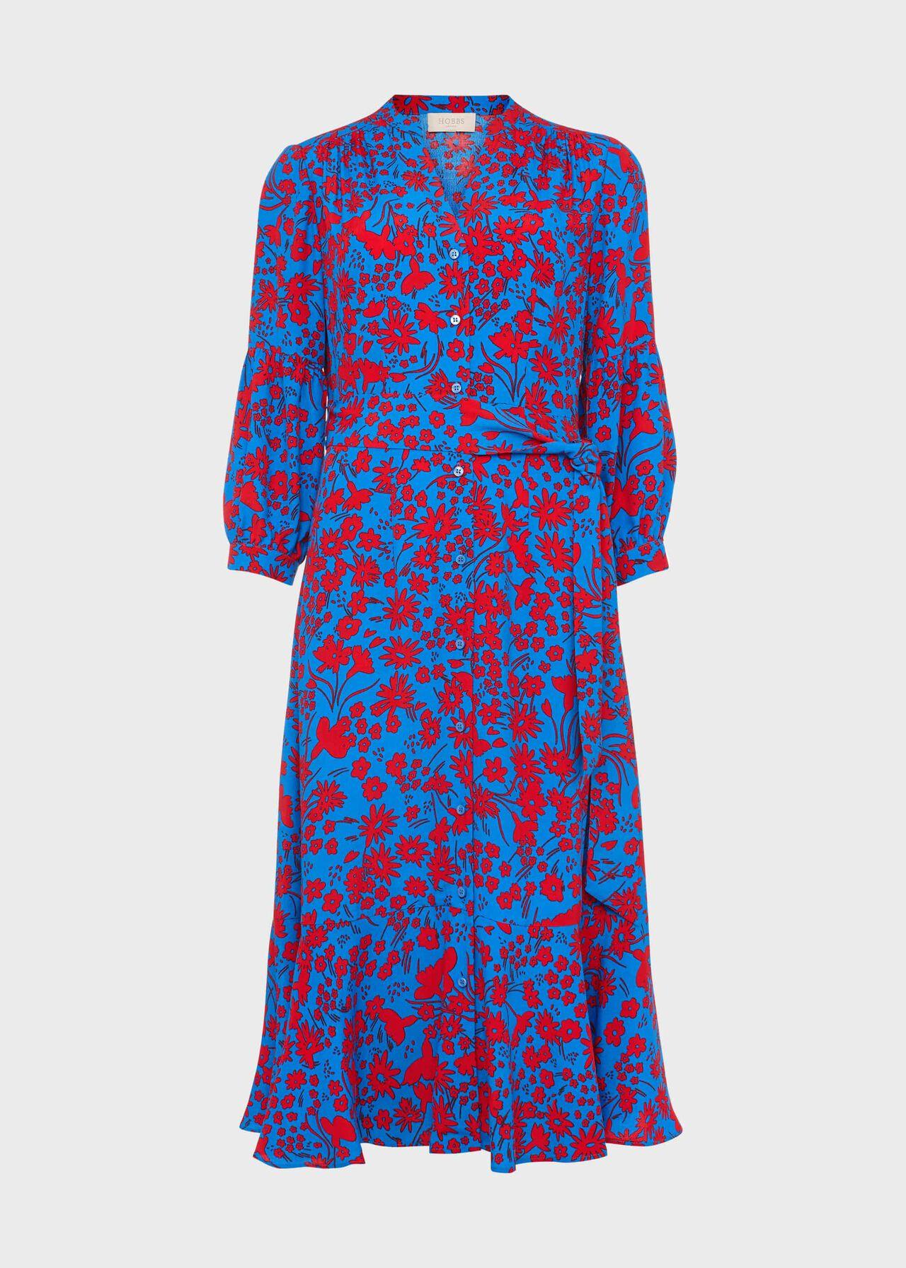 Petite Carla Floral Midi Dress Red Azure Blue