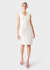 Frida V Neck  Shift Dress, Ivory, hi-res