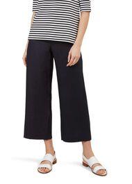 Nicole Crop Linen Trouser, Navy, hi-res