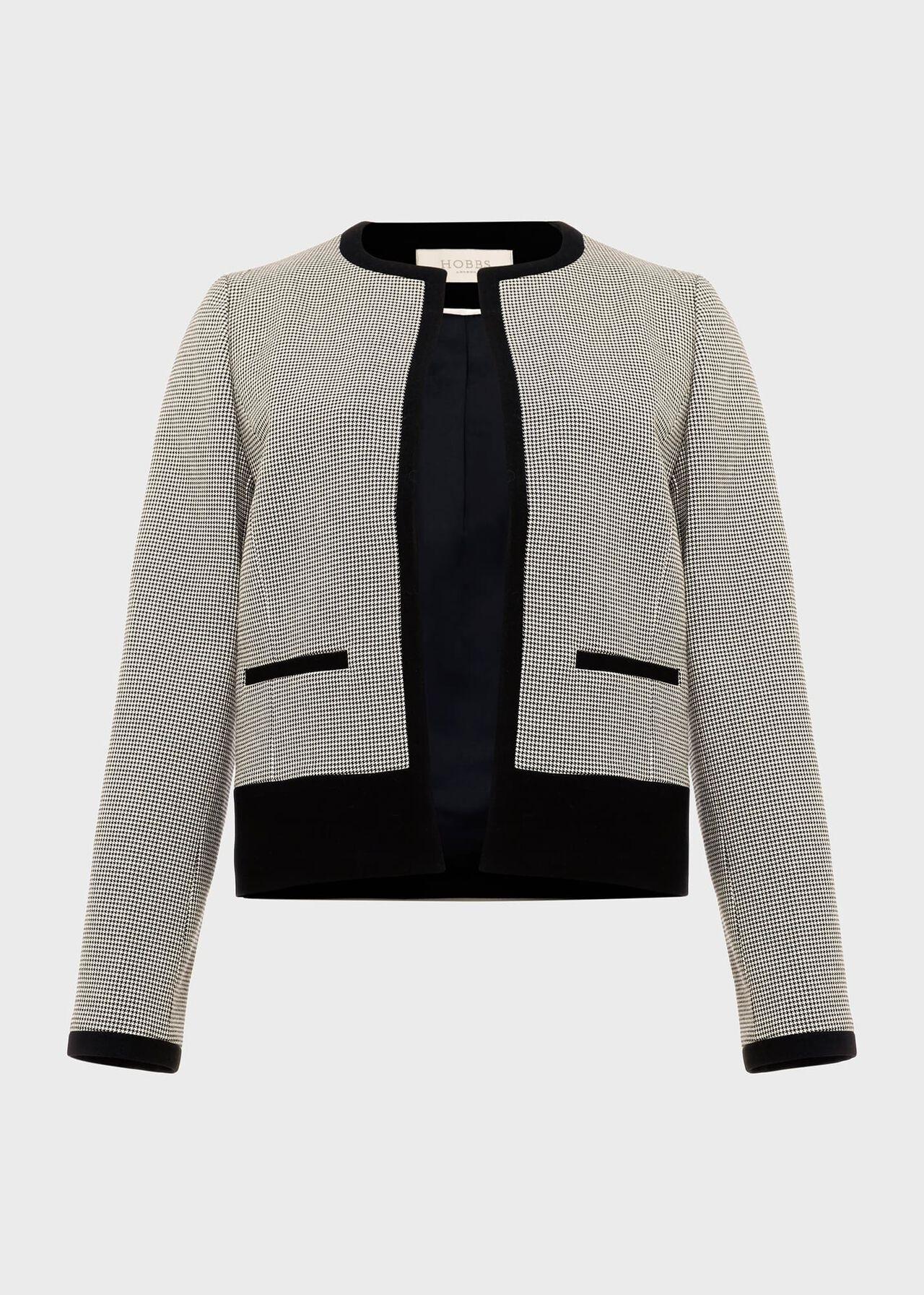 Sienna Houndstooth Jacket, Ivory Black, hi-res