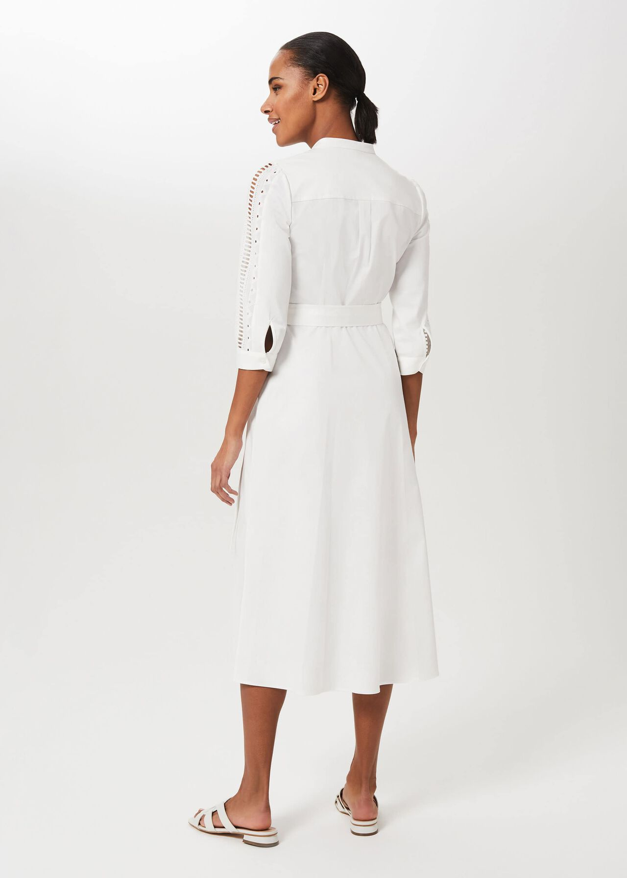 Diana Broderie Midi Dress, Ivory, hi-res