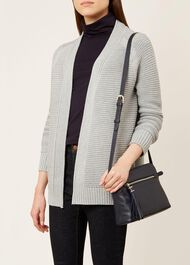 Louisa Cotton Cashmere Cardigan, Grey, hi-res