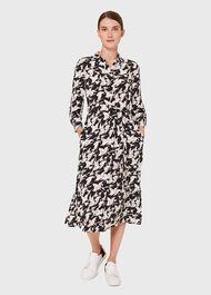 Eliana Print Midi Dress, Black Ivory, hi-res