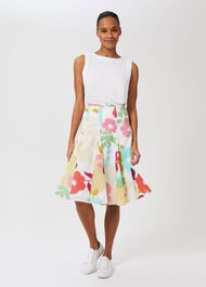 Melina Cotton Floral Full Skirt, White Multi, hi-res