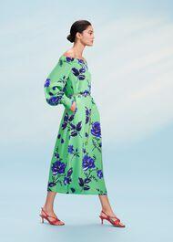 Miriam Bardot Dress, Green Blue, hi-res