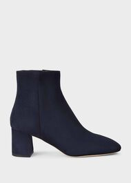 Imogen Leather Ankle Boots, Navy, hi-res