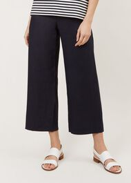 Nicole Linen Crop Trouser, Navy, hi-res