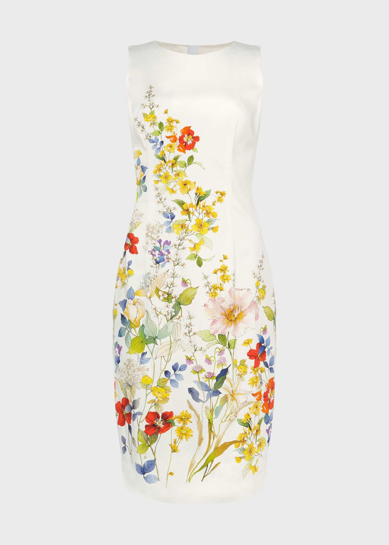 Fiona Cotton Blend Floral Shift Dress Ivory Multi