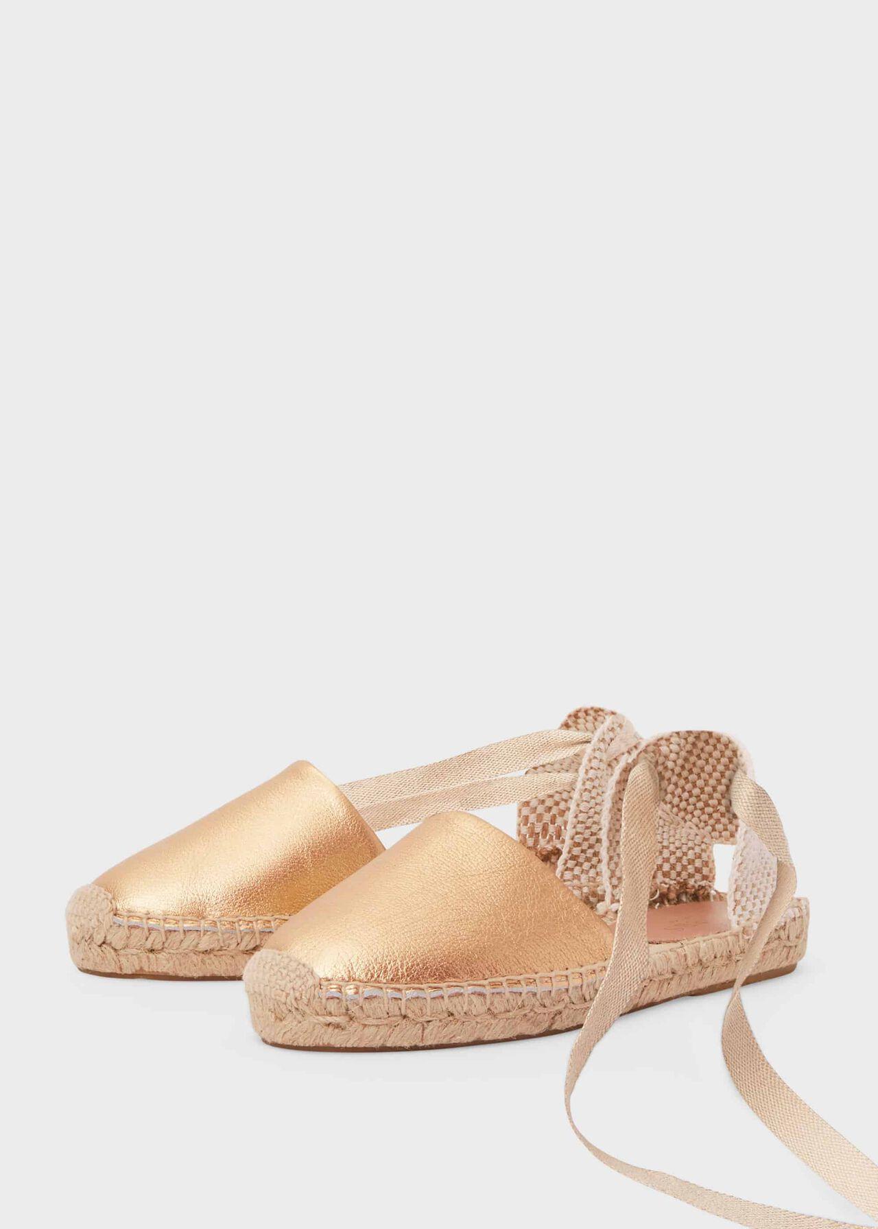 Louisa Leather Flat Espadrilles Gold