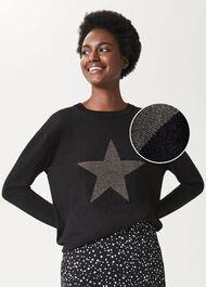 Jaida Sparkle Star Jumper, Black Gold, hi-res