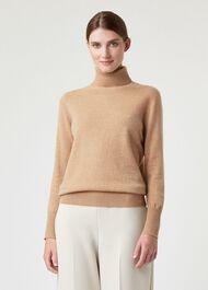 Adela Cashmere Sweater, Camel, hi-res