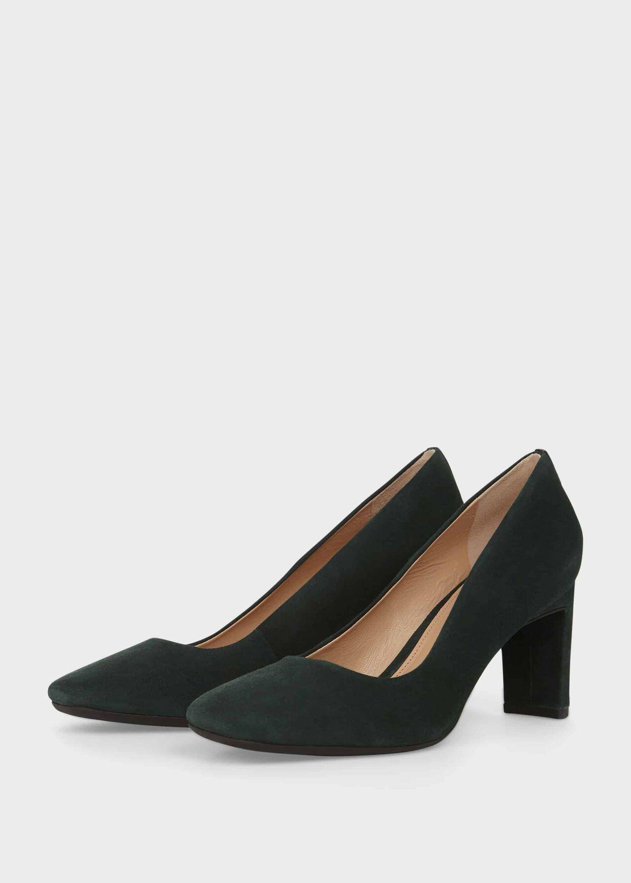 Ella Suede Block Heel Court Shoes Bottle Green