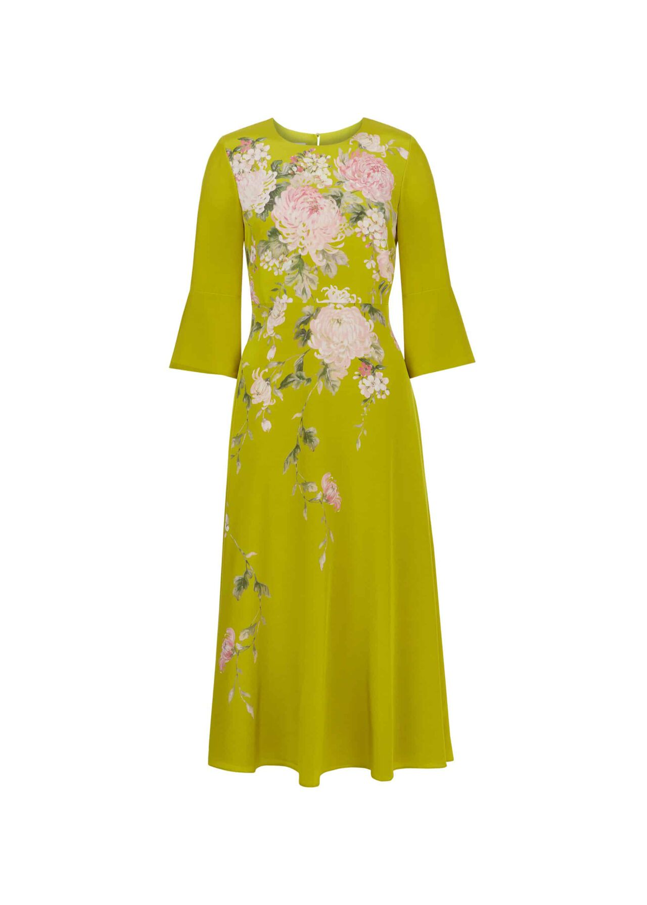 Sadie Silk Dress Chartreuse Mlt