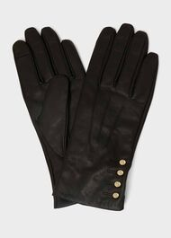 Sienna Leather Glove, Black, hi-res